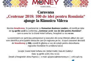 """Caravana """"Centenar 2018: 100 de idei pentru România"""" ajunge pe 19 aprilie la Râmnicu Vâlcea"""